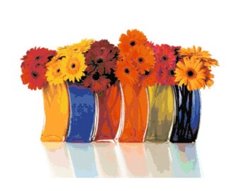 Gerbera Daisies in Colorful Vases PDF Cross-Stitch Pattern