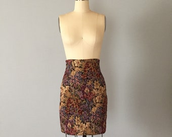 BLOOMING GARDEN mini skirt | amfora fitted mini skirt | Express Tricot tapestry mini skirt