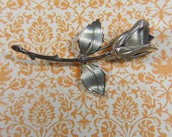 Vintage Silver Rose Brooch - BR-490