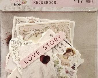 Prima Love StoryEphemera cards & Cutouts w/Foil Accents