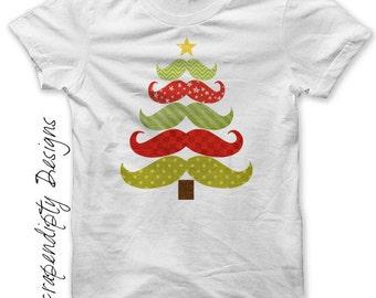 Iron on Christmas Shirt PDF - Mustache Tree Iron on Transfer / Mustache Christmas Tree Shirt / Cute Baby Christmas Outfit / Print IT333