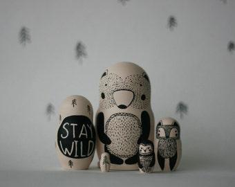 STAY WILD set of 5 black and white wooden handpainted russian nesting dolls / matryoshka dolls / babushka dolls - bear, fox and owl