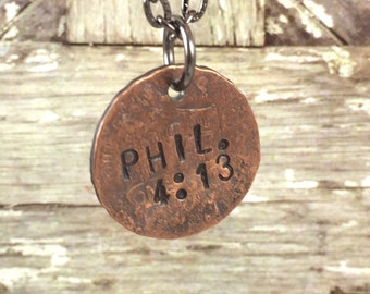 Philippians 4:13 Scripture Penny Charm Necklaces, Bible Verse Necklace, Mens Necklace, Inspirational Necklace, Gift Idea for Athlete