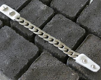 White Leather Bracelet, Womens Silver Chain Bracelet, White And Leather Link Bracelet, Rock Style, Curb Chain Bracelet, White Leather