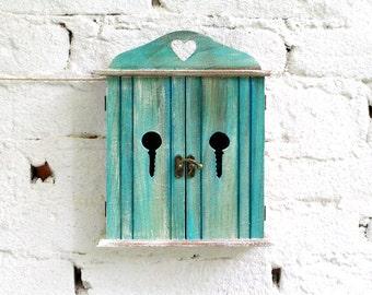 Turquoise key box Wooden key box holder Key cabinet Key storage box Key chain box Key holder box