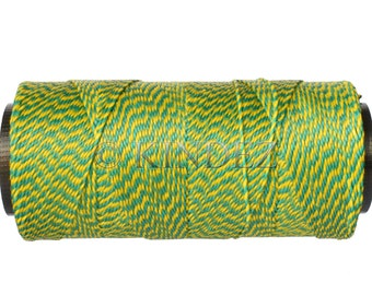 Waxed Polyester Cord - 15 meters/16 yards - Jewelry Cord - Macrame Cord 0.8mm - Multicolor Green Yellow