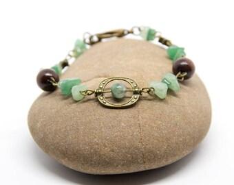 Bracelet agate, aventurine and wood
