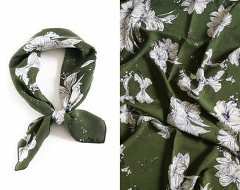 square scarf square silk scarf bag handle scarf accessories scarves & Wraps vintage scarves fall accessories vintage silk scarf winter