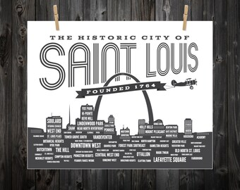 St. Louis Neighborhood Poster, Saint Louis, St. Louis, STL, St Louis Art, St Louis Print, St Louis Poster, St Louis Sign, St Louis Map
