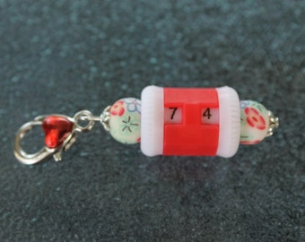 Large Red Beaded Row Counter Removable Progress Keeper Stitch Marker Crocheters and Knitters SPK370