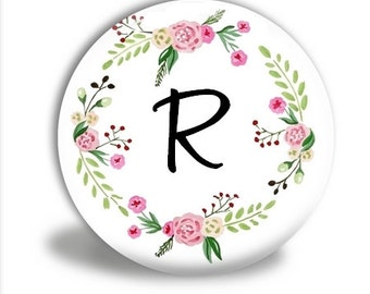Monogram Pocket mirror, Floral Wreath monogram, mirror favor, bridesmaid gift