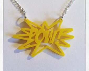 POW! Comic Book Acrylic Necklace in Various Colours