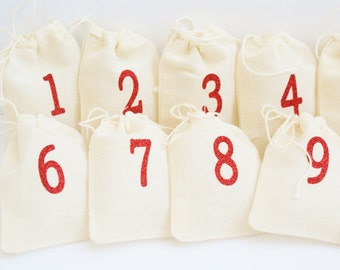 Advent Calendar - 25 Numbered Christmas Countdown Bags- Small Advent Drawstring Bag Kit with Sparkle Vinyl Numbers - Reusable Fabric Bag