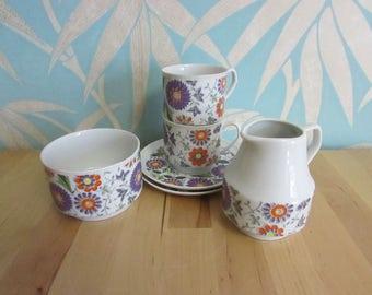 1970s retro Polish Chodziez ribbed porcelain floral teaset