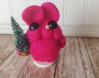 Adorable Needle Felted Wool Toothy Monster- Dark Pink