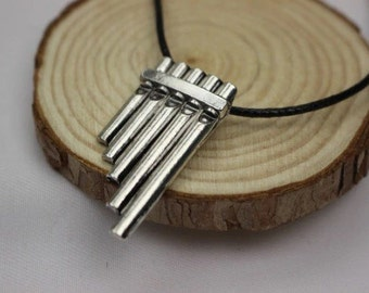 Peter Pan inspired pan flute necklace, Pan flute silver plated charm