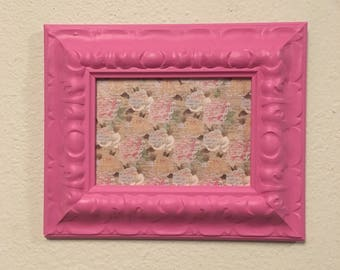 Picture Frame Upcycled Handpainted Pink , 5x7 Photo Frame , Nursery Decor , Anniversay Gift , Gift for Her