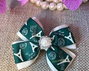 Green and Beige Hair Bow