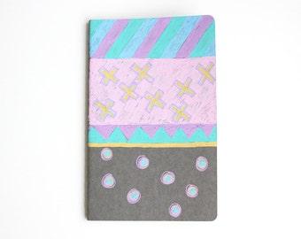 Geometric Pattern Notebook, X's and O's, Polka Dots, Stripes, Illustration, Travel Journal, Idea Notebook, OOAK