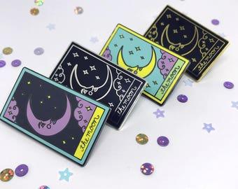The Moon Tarot Card Enamel Pin, Tarot Pin, Tarot Card Pin, The Moon Pin, The Moon Tarot Brooch, Flair, Crescent Moon Pin, Tarot Card Brooch