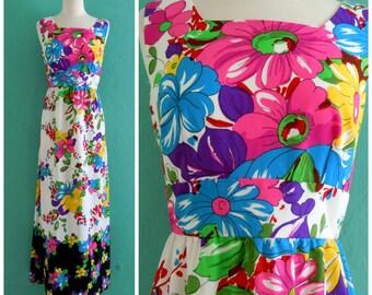 60's floral print maxi dress // hippie maxi dress