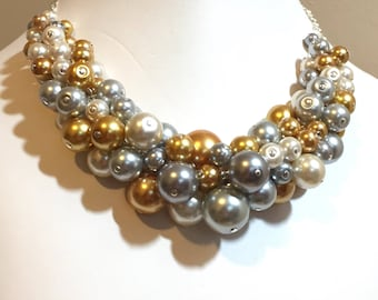 "Pearl Cluster Necklace ""Silver and Gold"" - Gold, Gray and Silver- Chunky, Choker, Bib, Necklace, Wedding, Bridesmaid, Prom, SRAJD, Custom"