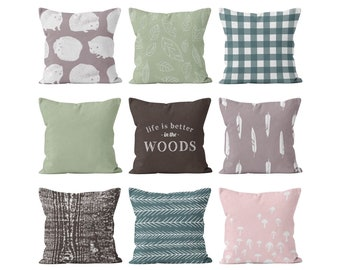 Woodland Throw Pillow Cover Mix and Match Set Green Mauve Brown Pink, Forest Animals Leaves Gingham Feathers Wood Branches Mushrooms