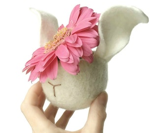 Felt Planter Bunny Animal Ivory White Knitted Felted Plant Pot For Tillandsias Air Plant Ring Bowl Hostess Housearming Gift Nursery Kids