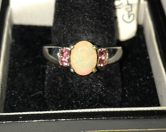 Ring genuine opal and Rhodolite garnet