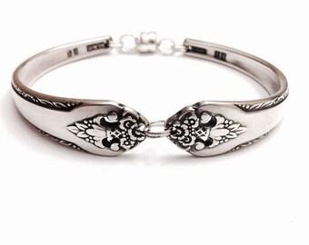 Vintage Silver Spoon Bracelet  circa 1937 - Handmade Spoon Bracelets for Women - Magnetic Clasp Spoon Bracelets