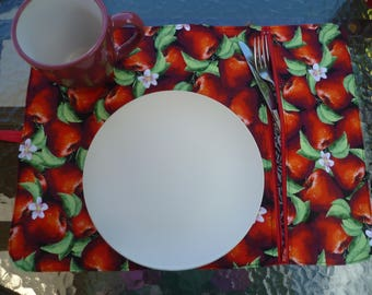 Doily compartment, lunch placemat theme 'apples'