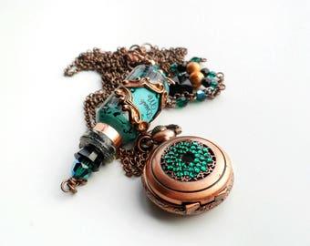 Alice in Wonderland Emerald, Copper and Black 'Drink Me' Bottle Crystal Pocket Watch Necklace