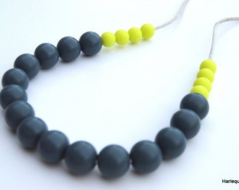 Silicone Teething Necklace / Silicone Nursing Necklace - Slate & Lime (Almost Neon Lime!)