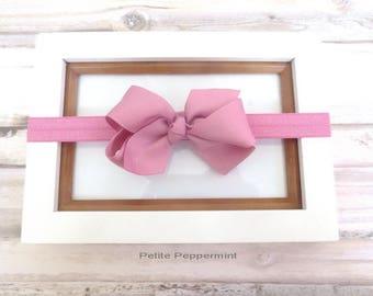 Pink baby headband, baby hair bow, baby headband bow, girl hair bow, newborn headband, baby bow headband, toddler headband, infant headband