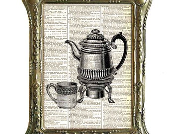 COFFEE POT and coffee cup art print Victorian Edwardian kitchen dining wall decor on upcycled dictionary book page black white 8x10, 5x7