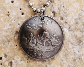 State Quarter Virginia Coin Necklace, 2000, Quarter Dollar Coin, Coin Pendant by Hendywood