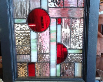 SOLD Stained Glass Geometric Design with Red circles