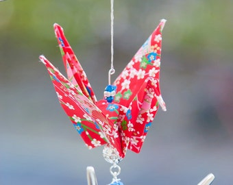 Red and Blue Origami Crane Ornament
