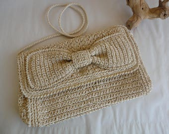 Beige Crocheted Purse