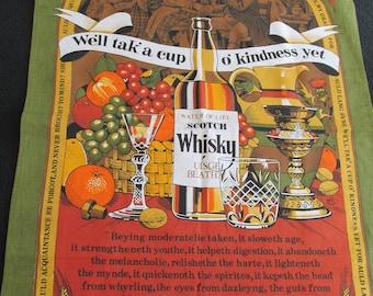 T2 Vintage Souvenir Kitchen Dish Tea Towel Auld Lang Syne Lyrics Whiskey Monitor Designs Britain