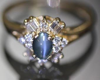 14k gold Natural Cat's eye Chrysoberyl & VS Baguette Round Diamond ring band
