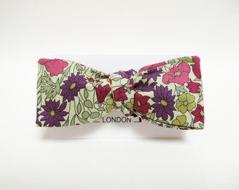 Retro purple plum floral batwing bow tie