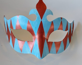 Blue and Red Copper Harlequin Mask