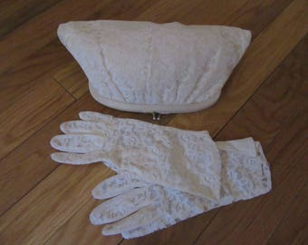 Vintage White Lace Small Clutch with Matching Gloves