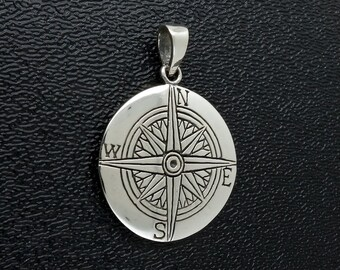 Sterling Silver Compass Pendant Good Luck Charm Free Shipping Free Shipping!