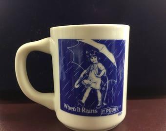 1921 Morton Salt coffee cup When It Rain It Pours