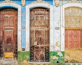 Doors of Havana - Photography Fine Art Print, Decor, Urban Decay, Old Havana Print, Travel Photography, Cuban Art, Urban Art, Havana Art