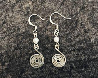 Silver Spiral Wire Earrings with Pearl Beads, Hook Earrings
