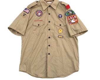 Rare!! Vintage BSA Boy Scout Shirt W/Patches Extra Large Size Made In Usa