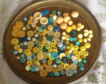 174 Vintage Yellow and Turquoise Buttons, Large Button Lot, Sets, Singles, some carved